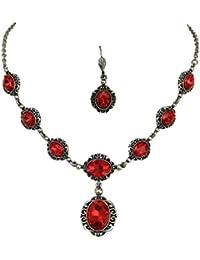 Elegantes Trachtenschmuck Dirndl Collier Set - bestehend aus Collier und Brisur Ohrringen - Siam Rot