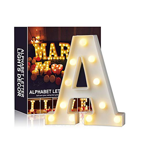 A-Z Alphabet Light White LED Lámparas de noche Plastic Letter Standing Hanging Lighting para Wedding Party Dormitorio Decoración de Navidad by Moobom (A)