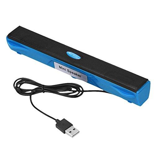 letter,USB mini altavoz de música para el ordenador portátil de escritorio PC portátil portátil (Azul)