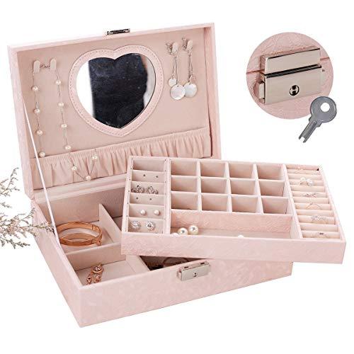 Cimic Schmuckbox mit Lock für Frauen Mädchen Schmuck Display Lagerung Fall Buliin Spiegel Große...