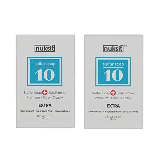 Nuksit 10%-Schwefel Seife 10% Sulfur Soap ideal für problematische Haut unreine Haut, Pickel und Mitesser,Fußgeruch,für Körper und Gesicht 2pack -