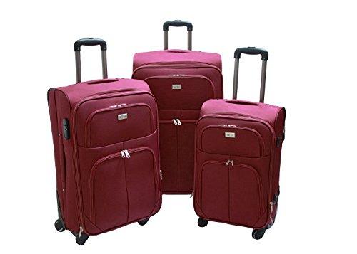 Trolley valigia set valigie semirigide set bagagli in tessuto super leggeri 4 ruote piroettanti trolley piccolo adatto per cabina con compagnie lowcost art.214 (Bordò)
