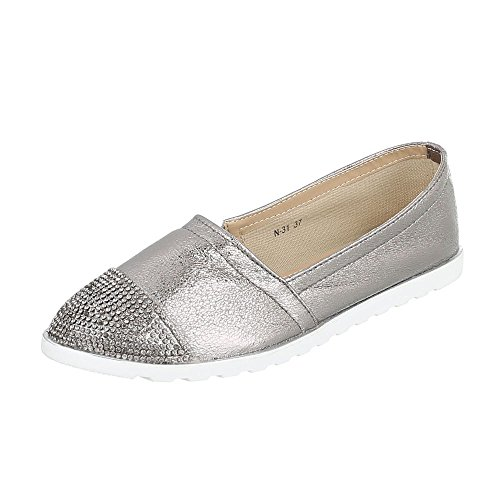 Ital-Design Slipper Damen-Schuhe Low-Top Strass Besetzte Halbschuhe Silber Grau, Gr 38, N-31-
