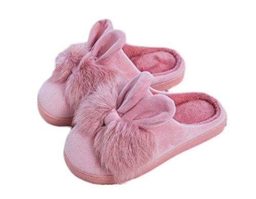 Niedliche Frauen Bogen Hasenohren Baumwolle Anti-Rutsch Hausschuhe Indoor Slipper ( Color : Rosa , Size : 40/41 ) (Farbe Classic Thong)