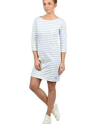 BLEND SHE Eni Damen Kleid Sommerkleid Dress Streifen-Optik U-Boot aus hochwertiger 100% Baumwolle , Größe:XS, Farbe:Cashmere Blue (20243) (Cashmere Kleid Blend)
