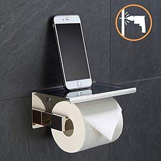 ubeegol 2 in 1 Toilettenpapierhalter Edelstahl Chrom Klorollenhalter Klopapierhalter mit Ablage WC Papier Halterung Toilettenrollenhalter Bohren Wandhalter, Glänzend