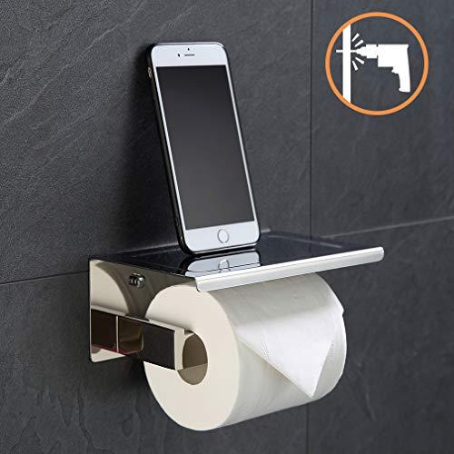 ubeegol Edelstahl Toilettenpapierhalter mit Ablage Chrom Klorollenhalter Klopapierhalter WC Papier Halterung 2 in 1 Toilettenrollenhalter Bohren Wandhalter, Glänzend