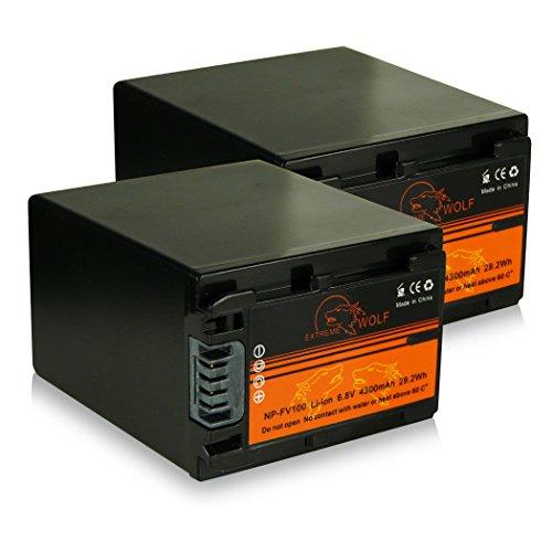 Bundle - 2x Power Batería NP-FV100 / NP-FV90 para Sony DCR-SR15E | DCR-SR37E | DCR-SR38E | DCR-SR47E | DCR-SR48E | DCR-SR57E | DCR-SR58E | DCR-SR67E | DCR-SR68E | DCR-SR77E | DCR-SR78E | DCR-SR87E | DCR-SR88E | HDR-XR100E | HDR-XR105E | HDR-XR106E | HDR-XR150E | HDR-XR155E | HDR-XR160E | HDR-XR200E | HDR-XR200VE y mucho más...