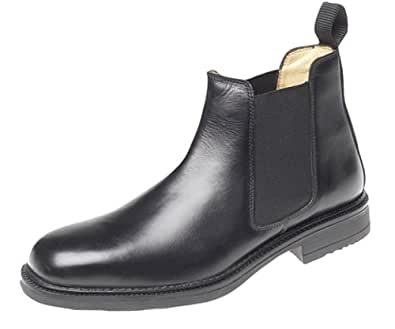 Mens Roamers Leather Chelsea Boots Cushioned lining Black size 6
