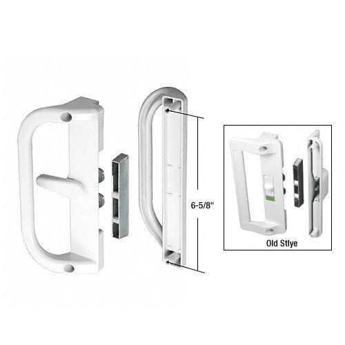 White Flush Mount Keyed Sliding Glass Door Handle Set with Inside Pull 6-5/8 Screw Holes by C.R. Laurence - Flush Inside Mount