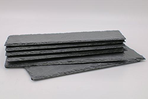 Dio 6er Display/Set Schieferplatten, rechteckig 30x10 cm Schieferteller Dekoration Dekoteller Unterteller Buffet Käseplatte