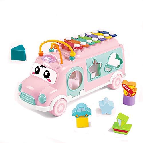 Fiouni Musical Bus Spielzeug, Baby sensorische Spielzeug, frühe Lernspielzeug Geschenk für 1, 2, 3 Jahre alte Babys Jungen (Rosa)