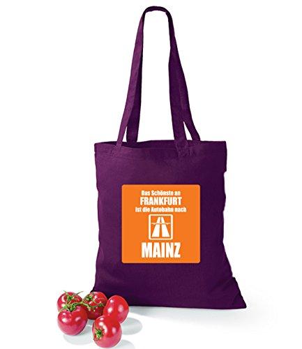 Artdiktat Baumwolltasche Das Schönste an Frankfurt ist die Autobahn nach Mainz yellow burgundy