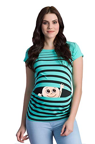 M.M.C. Ciao Ciao - Premaman Abbigliamento Donna Magliette Premaman T-Shirt Divertente Gravidanza - Maniche Corte maternità (Menta, Medium)