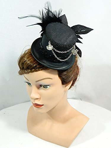 Melbourne Kostüm Dirndl (Mini Zylinder schwarz Damenhut Hut Fascinator Cocktail Hütchen Gothic Steampunk Kopfschmuck Haarschmuck Headpiece)