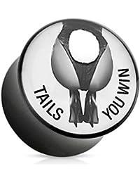 Paula & Fritz® Plug con sillín cierre de acrílico con texto impreso exclusivamente para Playboy Tails You Win 6–25mm pbpa223