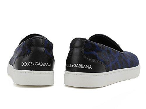 CS1320AP65389853 Dolce&Gabbana Pantoufle Homme Poney Cuir Bleu Bleu foncé