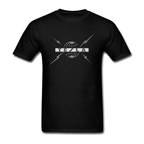 Spend freely Men's Tesla Band Logo Short Sleeve T shirt S (Tesla-band-shirt)