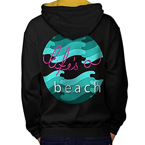 Holiday Beach Vacation Men L Contrast Hoodie Back | Wellcoda