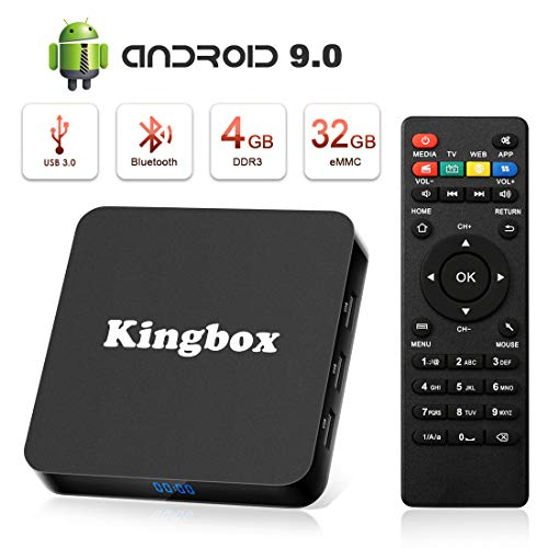 Android 9.0 TV Box K4S TV Box 4GB RAM+32GB ROM Quad Core mit 2.4G WiFi 3D/ 4K/ 100 LAN / H.265, HDMI, USB*3 Smart TV Box