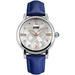 XLORDX Damen Armbanduhr Armreif Kette Roman Kristall Quarzuhr Uhr Vintage Elegant Blau Leder
