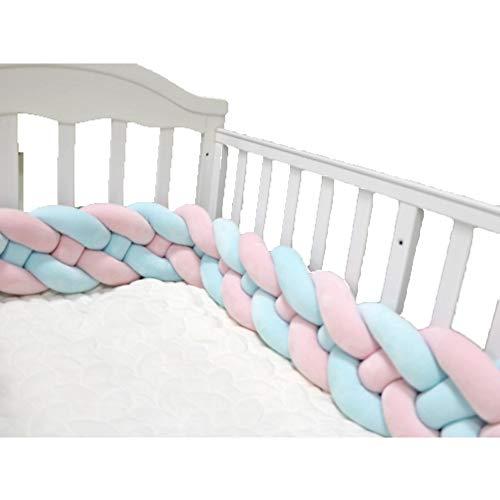 Rehauts de Tressé Tour de lit bébé, Velvet Nouée Bébé lit bumper Oreiller tressé Protection bébé sécurité-F 300cm(118inch)