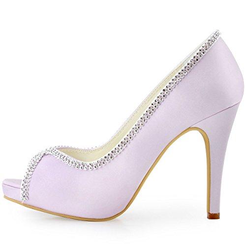 ElegantPark EP11083-IP Escarpins Femme Satin Bout Ouvert Aiguille Plateforme Diamant Chaine Chaussures de mariee Bal Lavande