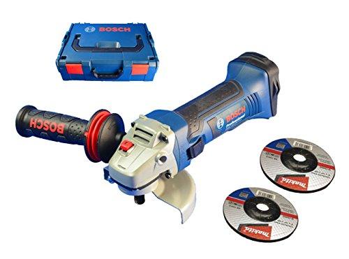 Preisvergleich Produktbild Bosch GWS 18-125 Akku-Winkelschleifer inkl. L-Boxx, Vibration Control & 2 Makita Schruppscheiben
