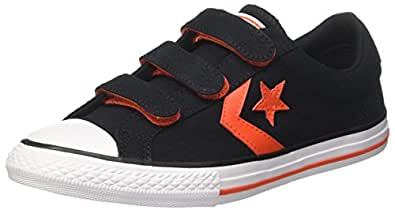 Converse Unisex-Kinder Star Player EV 3V OX Black/Gym Red/White Fitnessschuhe, Schwarz (Black/Gym Red/White 001), 32 EU