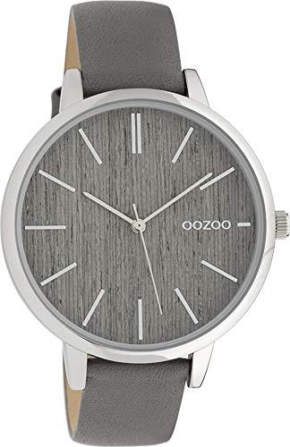 Oozoo Damenuhr mit Lederband 42 MM Grau Holz/Grau C9745