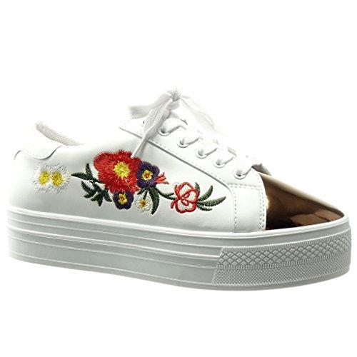 Angkorly Damen Schuhe Sneaker - Bi-Material - Plateauschuhe - Blumen - Bestickt - Glänzende Keilabsatz High Heel 4 cm - Weiß C-245 T - Bestickte Sneakers