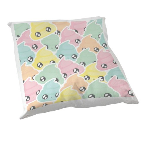 Coussin Décoration Fluffy chamalow : Multi caca pastel Chibi , Kawaii - Fabriqué en France - Chamalow Shop