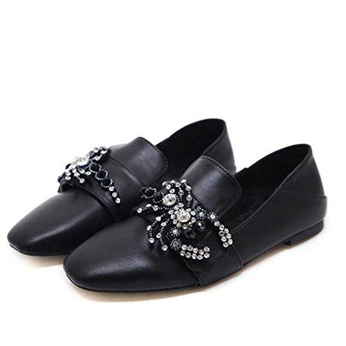 CBDGD PU Frauen Schuhe Pu Strass Schuhe Casual Schuhe Bequeme Flache Boden Outdoor Wanderschuhe apricot schwarz 35-40 cm High Heels (Color : Black, Size : 37) Casual Strass