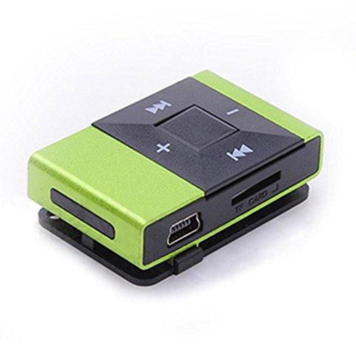 FEITONG Mini USB Clip Digitalen MP3 Player Musik Spieler Unterstützung 8 GB SD TF Karte (Grün)