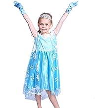 Anladia - Disfraz de Elsa Frozen Prestige para niña Talla 120 130 140