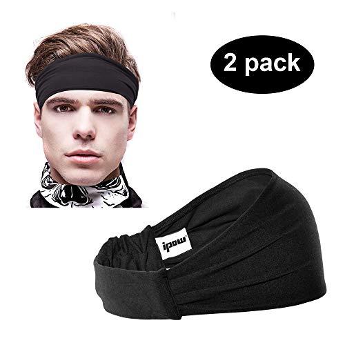 [ 2er Set ] Ipow Sport Stirnband Schweißband elastisch Haarband atmungsaktiv für Alltag Yoga Joggen - Schwarz / unisex für Damen und Herren -