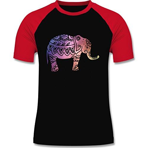 Boheme Look - Elefant Namaste - zweifarbiges Baseballshirt für Männer Schwarz/Rot