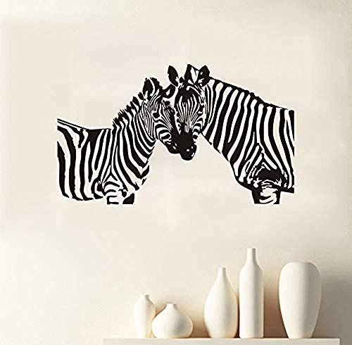 Wild-tier-silhouette (Creative Wandaufkleber Zwei Zebra Silhouette Wandaufkleber Kinderzimmer Wilde Tiere Abnehmbare Vinyl Wandkunst Aufkleber Dekoration Zubehör 98X58Cm)