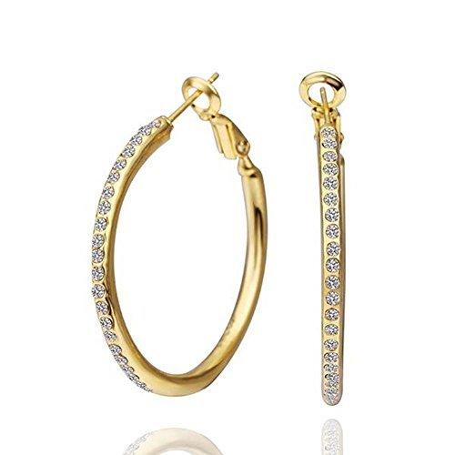 Wonvin Moda Mujer Pendientes de aro de diamante de oro 18K plateado con zirconia cúbicos joyería hipoalergénica