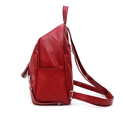 Zaino in Pelle di Modo Delle Donne Scuola di Svago Zaino da Viaggio Casual Rosso