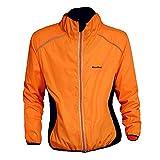 WOSAWE Giacca da Ciclismo Antivento da Uomo Leggera e Traspirante Equitazione Abbigliamento Maniche Lunghe Biciclette Vento Cappotto (BC220-Orange L)