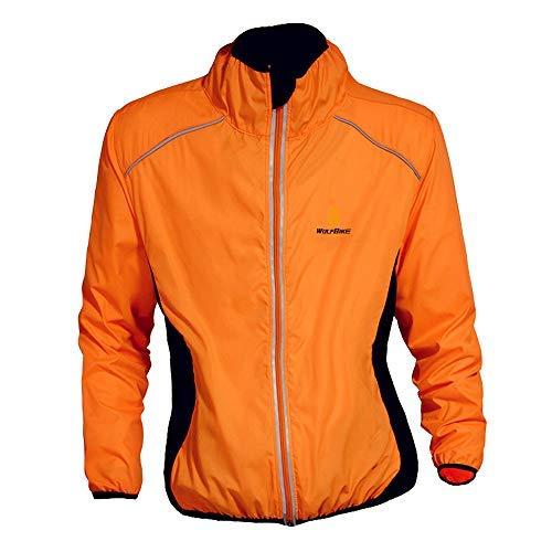 WOSAWE Herren-Fahrradjacke Winddichte wasserdichte MTB Mountainbike Jacket Für Radfahren, Joggen & Wandern (BC220 Orange XXXL)