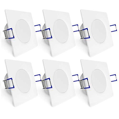 linovum® WEEVO 6er Set Einbaustrahler LED Bad quadratisch mit 3,5W warmweiß 230V - IP44 Deckenleuchte extra flacher Einbau (29 mm)