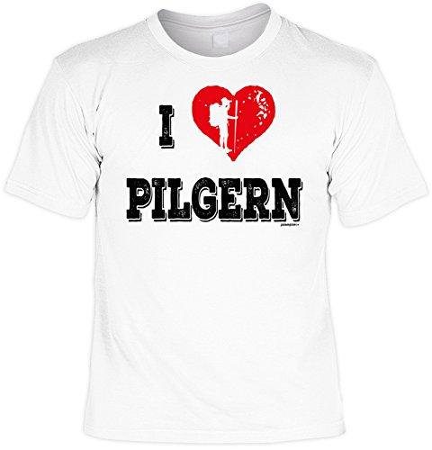 Pilger/Kletter-Shirt/Sprüche-Shirt Thema Wandern: I love Pilgern für Gipfelstürmer Weiß