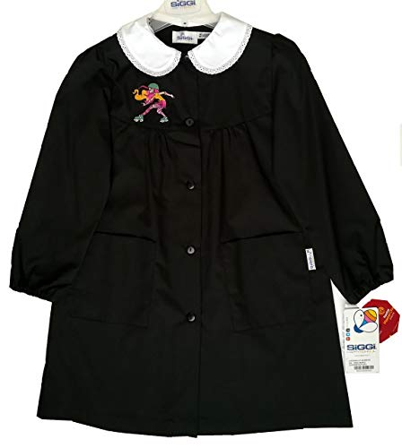 Siggi grembiule scuola elementare bimba bambina nero bottoni colletto bianco (6 anni - h. 116 cm.)