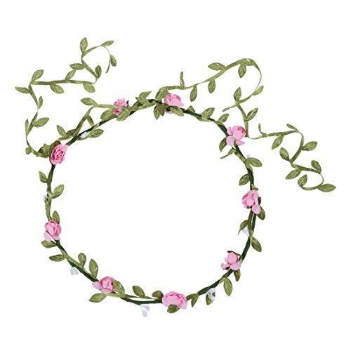 TOOGOO(R)Guirlande Florale Fille Femme Fete Mariage Boho Bande de Cheveux Rose