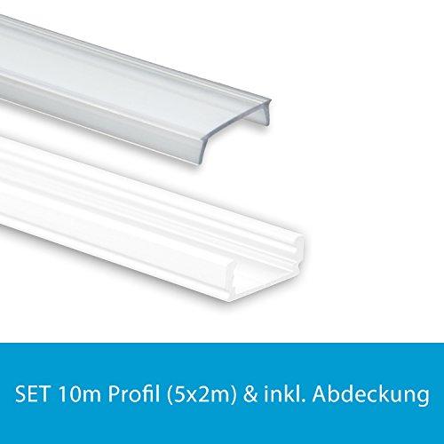 Profi LED Profil für LED Stripes - Serie Aufbauprofil Mini 12 weiss (Alu-Profil SET 10M (5x2M) Aluminium Aufbauprofil Mini 12 weiss mit flacher klarer Abdeckung); LED Band, LED Stripe, LED Strip - hochwertige Kühlprofile für LED Lichtbänder von Isolicht