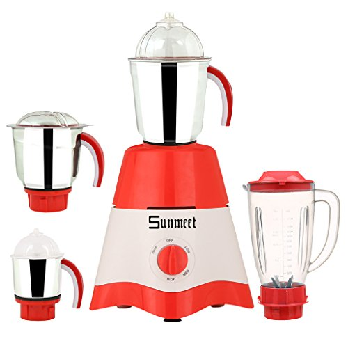 Sunmeet Red-white Color 750watts Red-white Color Mixer Juicer Grinder With 4 Jar (1 Juicer Jar Without Filter, 1 Medium Jar, 1 Large Jar And 1 Chuntey Jar)