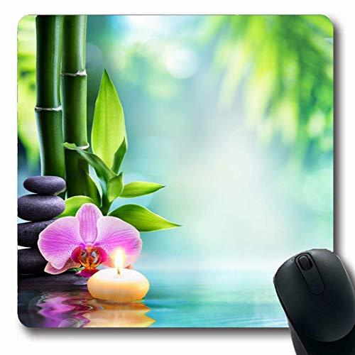 Luancrop Mousepads Meditation Green Water Spa Stillleben Kerze Stein Balance Bambus Natur Zen Blume Orchidee Gelassenheit rutschfeste Gaming Mouse Pad Gummi Längliche Matte -