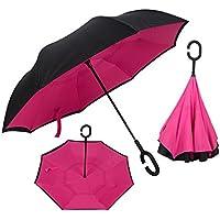 Ombrello invertito doppio strato contro manico grande protezione dal vento a forma di raggi ultravioletti (I Migliori Bagaglio A Mano Viaggio)